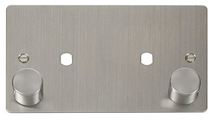 Flat Plate Stainless Steel 2 Gang Plate 2 Module (1630w Max) - White