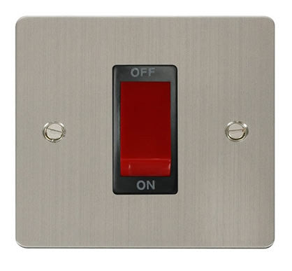 Flat Plate Stainless Steel 1 Gang 45A DP Switch  - Black