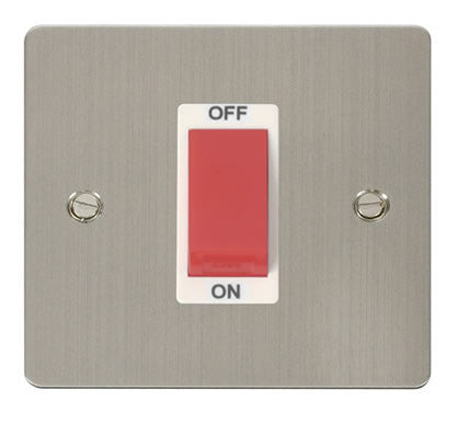 Flat Plate Stainless Steel 1 Gang 45A DP Switch  - White