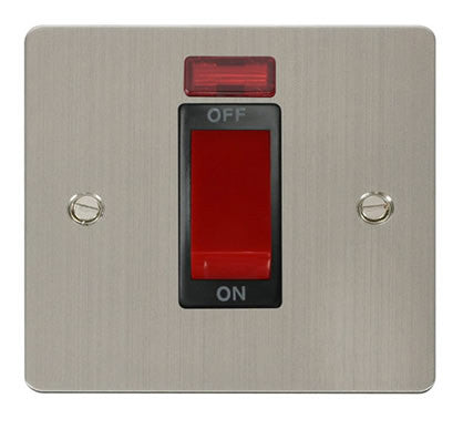 Flat Plate Stainless Steel 1 Gang 45A DP Switch + Neon  - Black