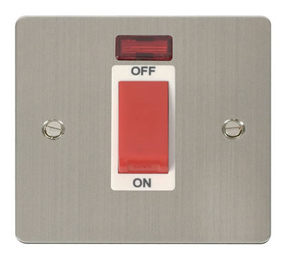 Flat Plate Stainless Steel 1 Gang 45A DP Switch + Neon  - White