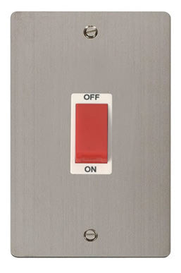 Flat Plate Stainless Steel 2 Gang 45A DP Switch  - White