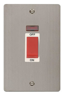 Flat Plate Stainless Steel 2 Gang 45A DP Switch + Neon  - White