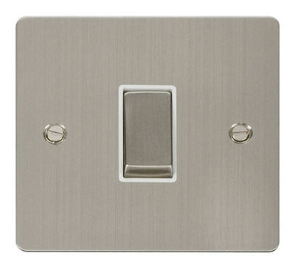 Flat Plate Stainless Steel Ingot 10AX 1 Gang 2 Way Switch  - White