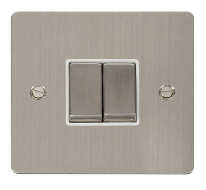 Flat Plate Stainless Steel Ingot 10AX 2 Gang 2 Way Switch  - White