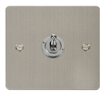 Flat Plate Stainless Steel 10AX 1 Gang 2 Way Toggle Switch - White