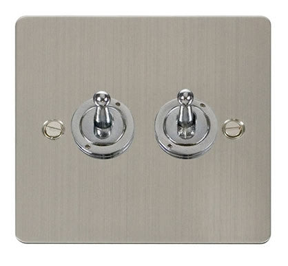 Flat Plate Stainless Steel 10AX 2 Gang 2 Way Toggle  switch - White
