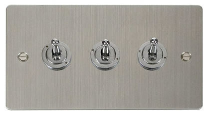 Flat Plate Stainless Steel 10AX 3 Gang 2 Way Toggle  switch - White