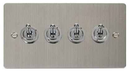 Flat Plate Stainless Steel 10AX 4 Gang 2 Way Toggle  switch - White
