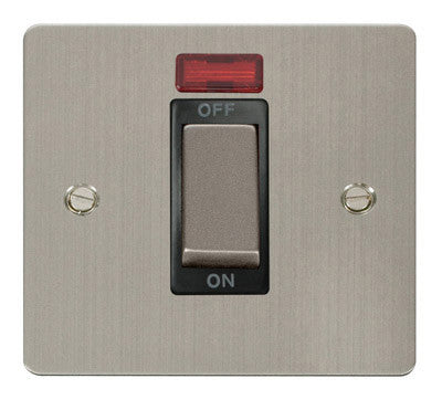 Flat Plate Stainless Steel Ingot 1 Gang 45A DP Switch With Neon - Black