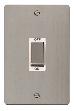 Flat Plate Stainless Steel Ingot 2 Gang 45A DP Switch - White