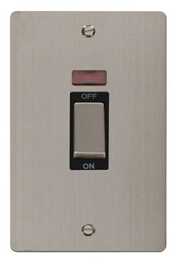 Flat Plate Stainless Steel Ingot 2 Gang 45A DP Switch With Neon - Black