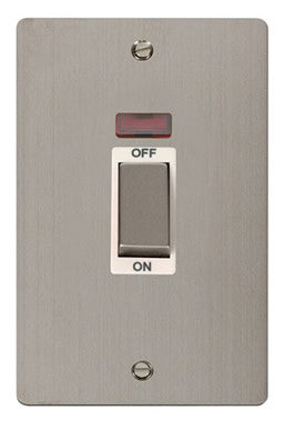 Flat Plate Stainless Steel Ingot 2 Gang 45A DP Switch With Neon - White