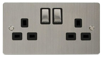 Flat Plate Stainless Steel Ingot 2 Gang Twin Double 13A DP Switched Socket  - Black