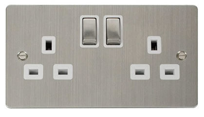 Flat Plate Stainless Steel Ingot 2 Gang Twin Double 13A DP Switched Socket  - White