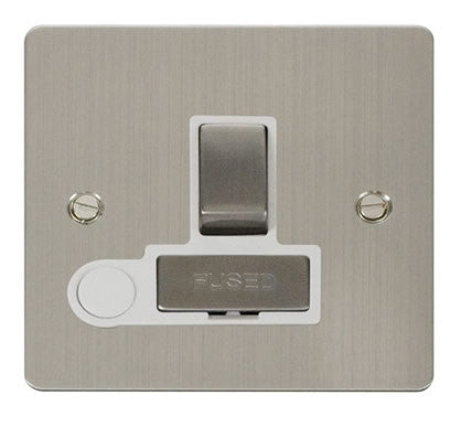 Flat Plate Stainless Steel Ingot 13A Switched Connection Unit  + Flex - White