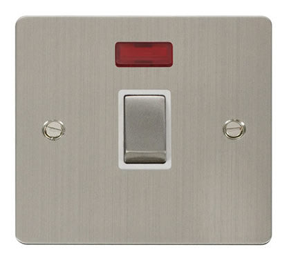 Flat Plate Stainless Steel Ingot 20A 1 Gang DP Switch  + Neon  - White