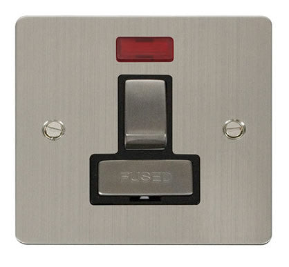 Flat Plate Stainless Steel Ingot 13A Switched Connection Unit  + Neon  - Black