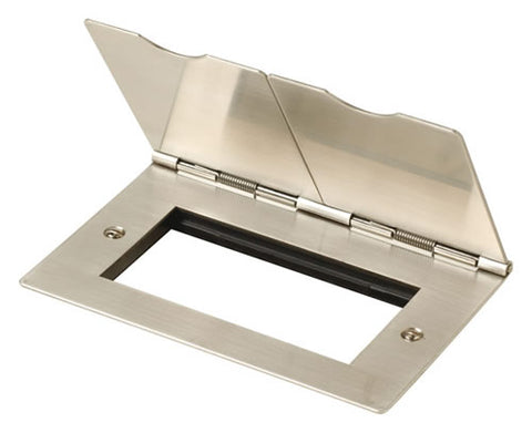 2 Gang New Media Floor Plate - Quad Aperture - Stainless Steel