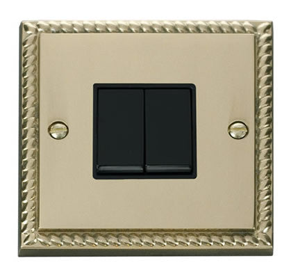 Georgian Cast Brass 10A 2 Gang 2 Way Light Switch - Black Trim