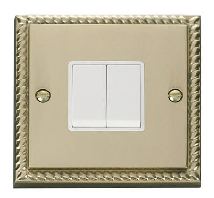 Georgian Cast Brass 10A 2 Gang 2 Way Light Switch - White Trim