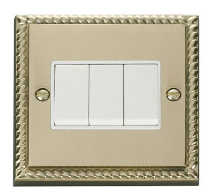 Georgian Cast Brass 10A 3 Gang 2 Way Light Switch - White Trim