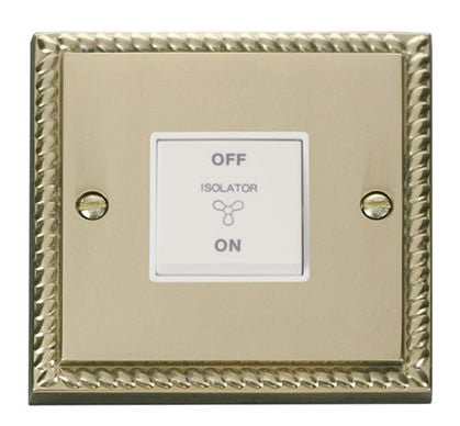 Georgian Cast Brass 10A 3 Pole Fan Isolation Switch - White Trim