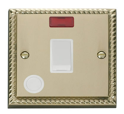 Georgian Cast Brass 1 Gang 20A DP Switch With Flex With Neon - White Trim