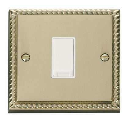 Georgian Cast Brass 10A 1 Gang Intermediate Light Switch - White Trim