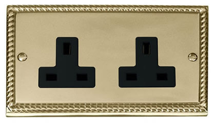 Georgian Cast Brass 2 Gang 13A Plug Socket - Black Trim