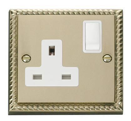 Georgian Cast Brass 1 Gang 13A DP Switched Plug Socket - White Trim