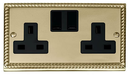 Georgian Cast Brass 2 Gang 13A Twin Double Switched Plug Socket - Black Trim