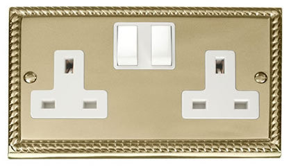 Georgian Cast Brass 2 Gang 13A Twin Double Switched Plug Socket - White Trim