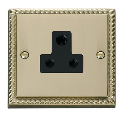 Georgian Cast Brass 1 Gang 5A Round Pin Plug Socket - Black Trim
