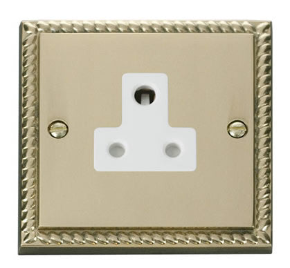 Georgian Cast Brass 1 Gang 5A Round Pin Plug Socket - White Trim