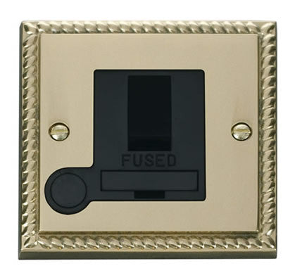 Georgian Cast Brass 13A Fused Connection Unit Switched With Flex - Black Trim