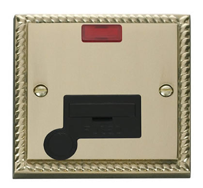Georgian Cast Brass 13A Fused Connection Unit With Neon With Flex - Black Trim