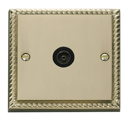 Georgian Cast Brass 1 Gang Single Coaxial TV Socket - Black Trim