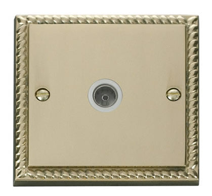 Georgian Cast Brass 1 Gang Single Coaxial TV Socket - White Trim