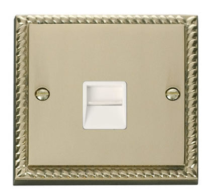 Georgian Cast Brass Master Telephone Single Socket - White Trim