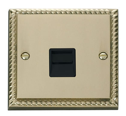 Georgian Cast Brass Secondary Telephone Single Socket - Black Trim