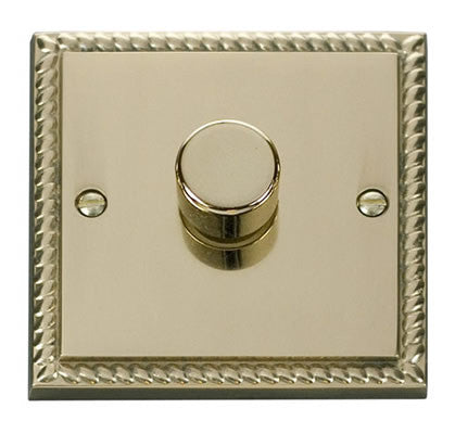 Georgian Cast Brass 1 Gang 2 Way 400w Dimmer Light Switch