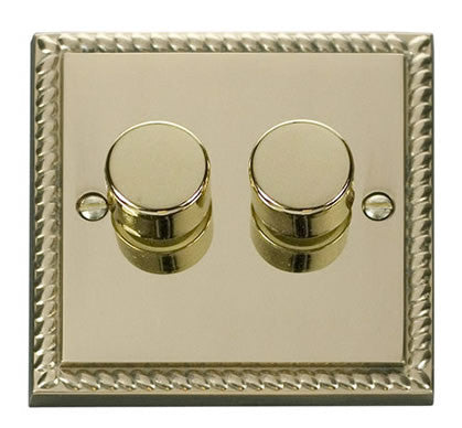 Georgian Cast Brass 2 Gang 2 Way 400w Dimmer Light Switch