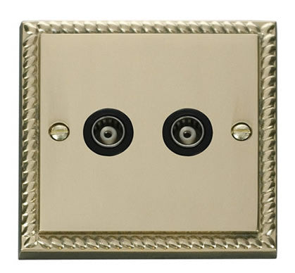 Georgian Cast Brass Twin Isolated Coaxial Socket - Black Trim