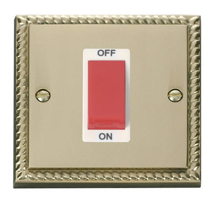 Georgian Cast Brass 1 Gang Size 45A Switch - White Trim