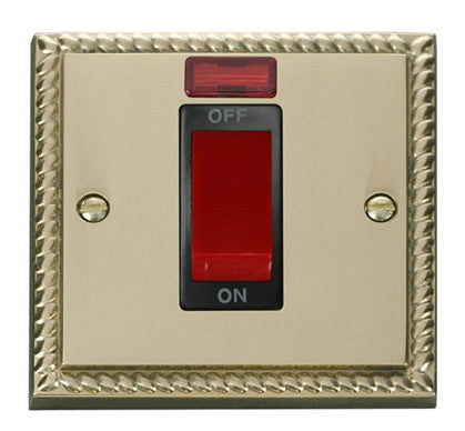 Georgian Cast Brass 1 Gang Size 45A Switch With Neon - Black Trim