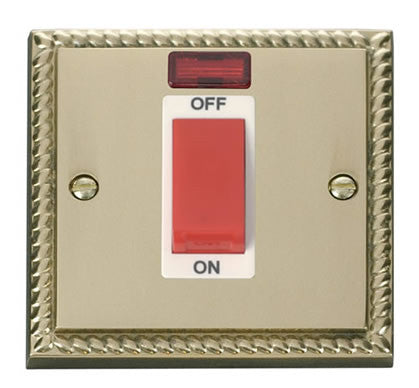 Georgian Cast Brass 1 Gang Size 45A Switch With Neon - White Trim