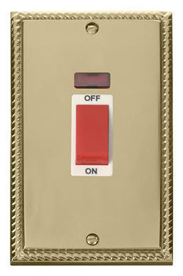 Georgian Cast Brass 2 Gang Size 45A Switch With Neon - White Trim