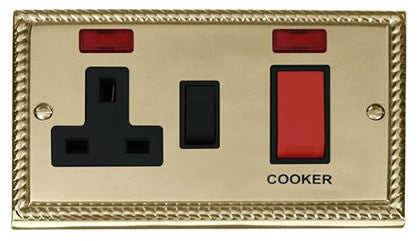 Georgian Cast Brass Cooker Control 45A With 13A Switched Plug Socket & 2 Neons - Black Trim