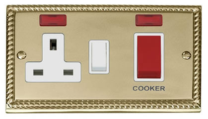 Georgian Cast Brass Cooker Control 45A With 13A Switched Plug Socket & 2 Neons - White Trim